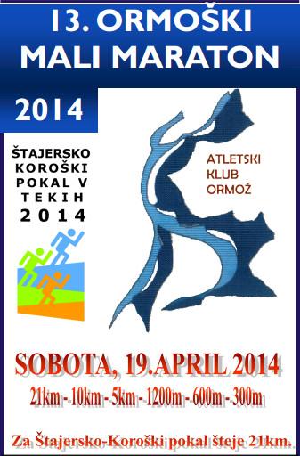 ATELTIKA: Bliža se 13. ormoški mali maraton 2014 (sobota 19. 4. 2014)