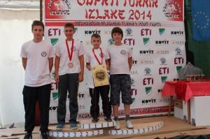 Od leve proti desni: Dejan Kociper (trener), Lan Kokol, Tin Kokol, Nejc Korotaj (vsi KBV Ormož).