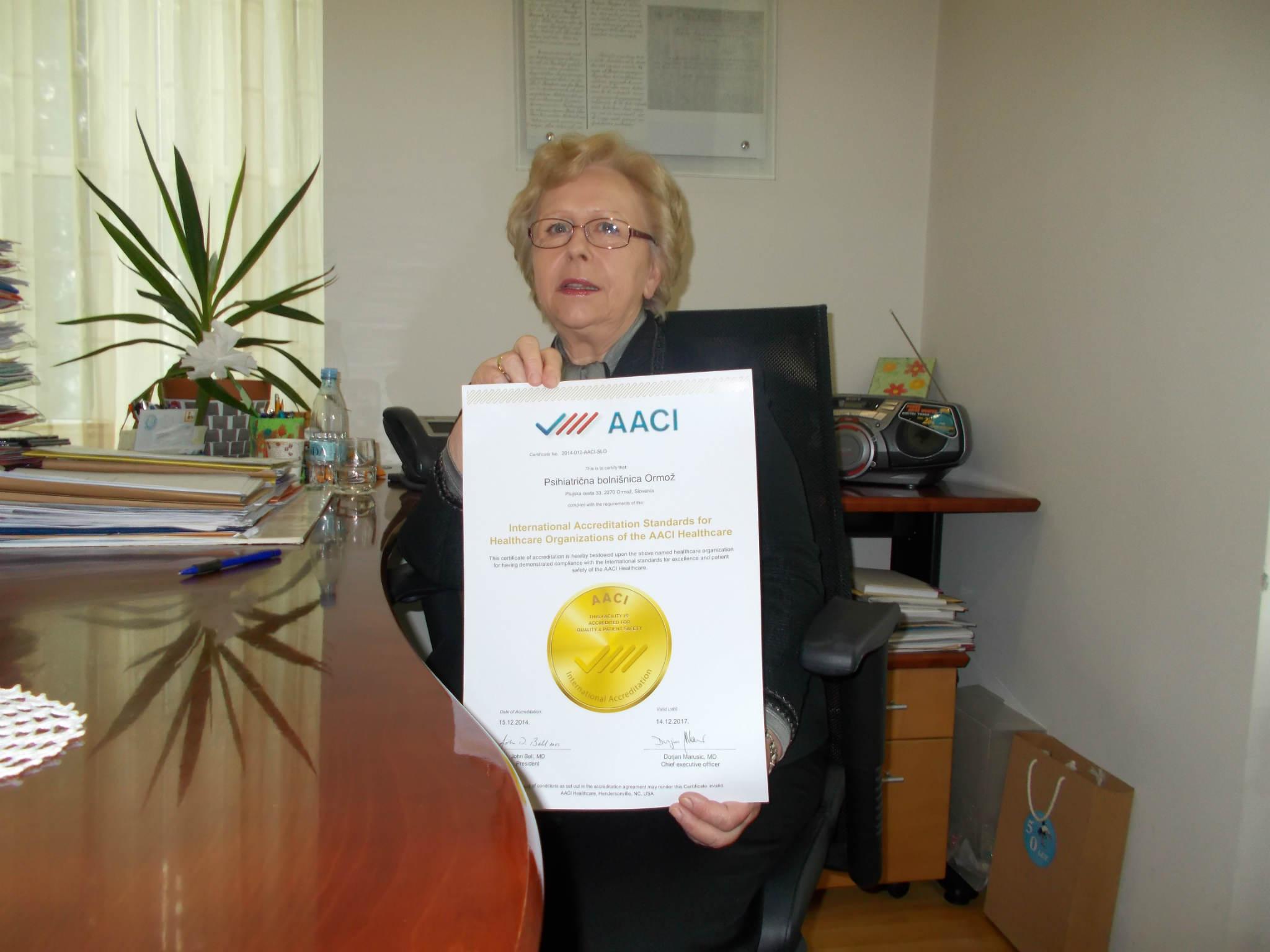Mednarodna akreditacijska listina (AACI Healthcare) za Psihiatrično bolnišnico Ormož