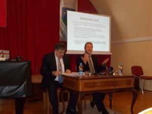 Alojz Sok - župan občine Ormož in mag.Matjaž Vrčko - sekretar na Ministrstvu za infrastrukturo RS na predstavitvi v Ormožu