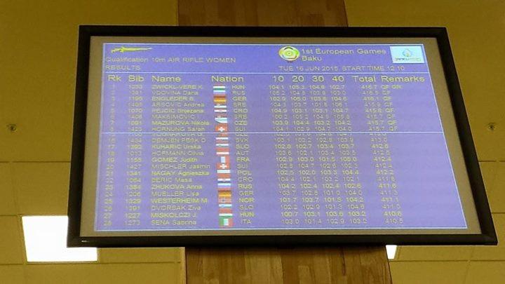 1. EVROPSKE IGRE v Bakuju, STRELSTVO: Urška Kuharič osvojila 17. mesto z zračno puško na 10 m