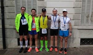 Od leve Damir Žinko, Marko Bratuša, Bojan Vozlič, Marko Dogša, Danilo Magdič na 37. POSOŠKEM MARATONU CITTA DI GORIZIA 2015 v Italiji.