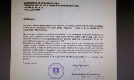 Vodstvo ormoške občine se z lokacijo slovesnosti ob odprtju prenovljene železniške proge Pragersko Hodoš ne strinja (župan in podžupana na Ministrstvo za infrastrukturo napisali protestno pismo)