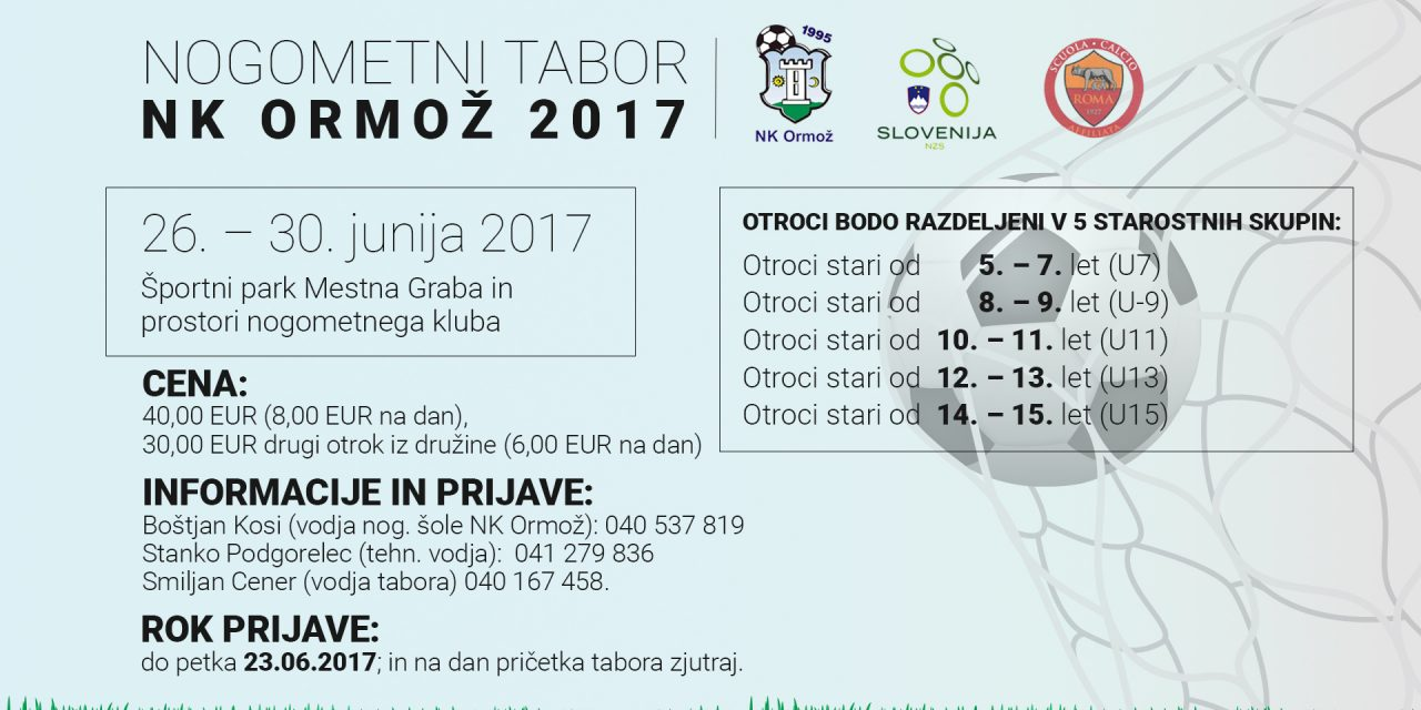 NOGOMET: Prijave na nogometni tabor NK Ormož
