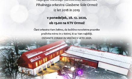 SPORED KTV ORMOŽ: Nocoj ob 19. uri najlepše melodije tradicionalnih novoletnih koncertov pihalnega orkestra GŠ ORMOŽ
