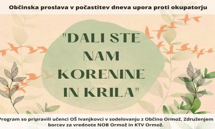 Osrednjo občinsko proslavo ob Dnevu upora proti okupatorjem pripravlja OŠ Ivanjkovci
